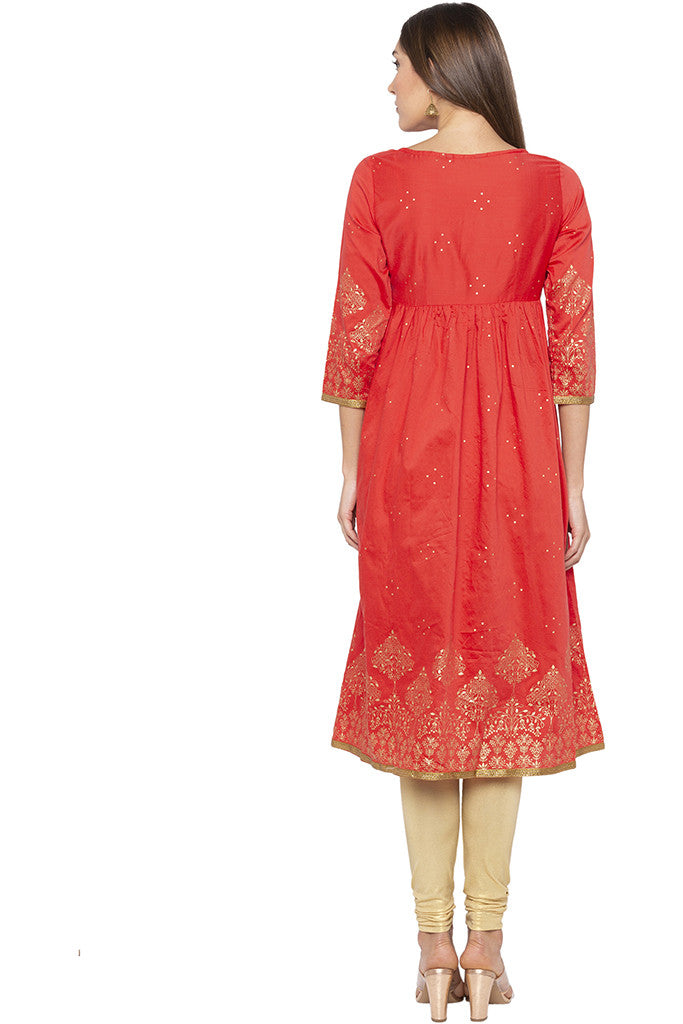 Golden Print Fit-to-flare Coral Kurta-3
