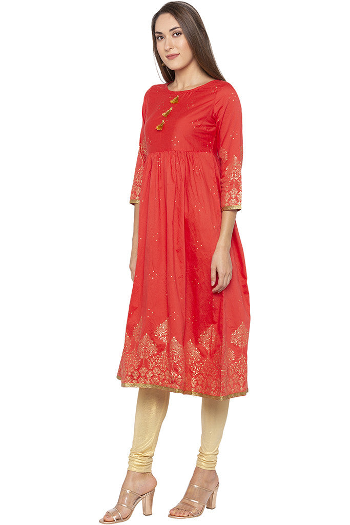 Golden Print Fit-to-flare Coral Kurta-4