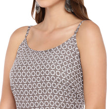 Load image into Gallery viewer, Women Grey & White Printed A-Line Kurta-5