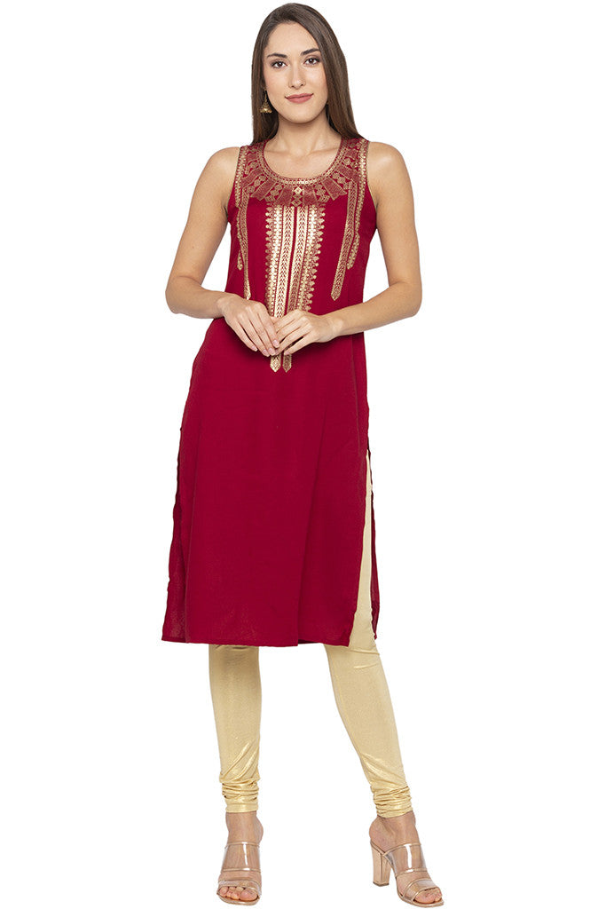 Printed Sleeveless Ethnic Maroon Kurta-1