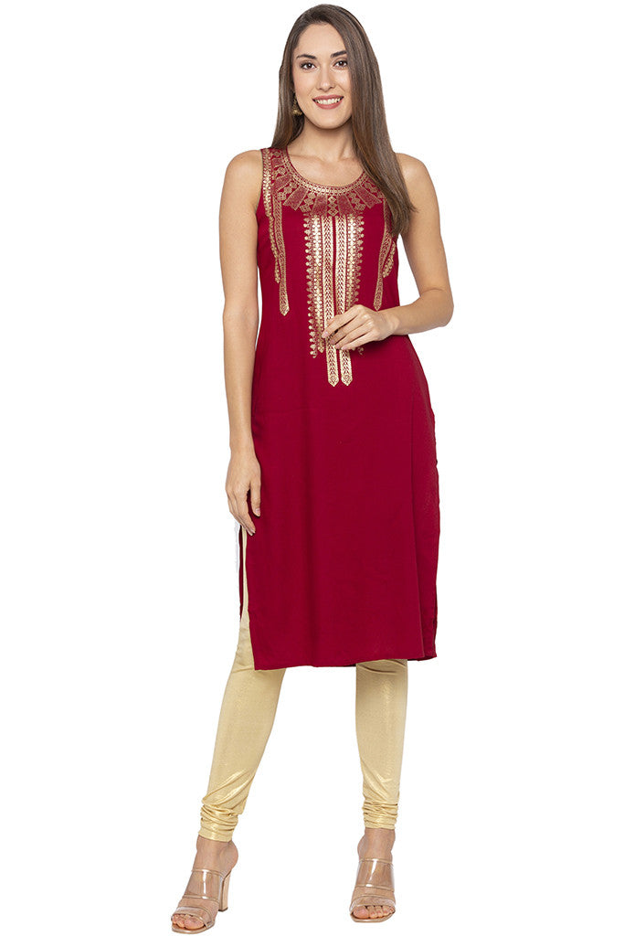 Printed Sleeveless Ethnic Maroon Kurta-2
