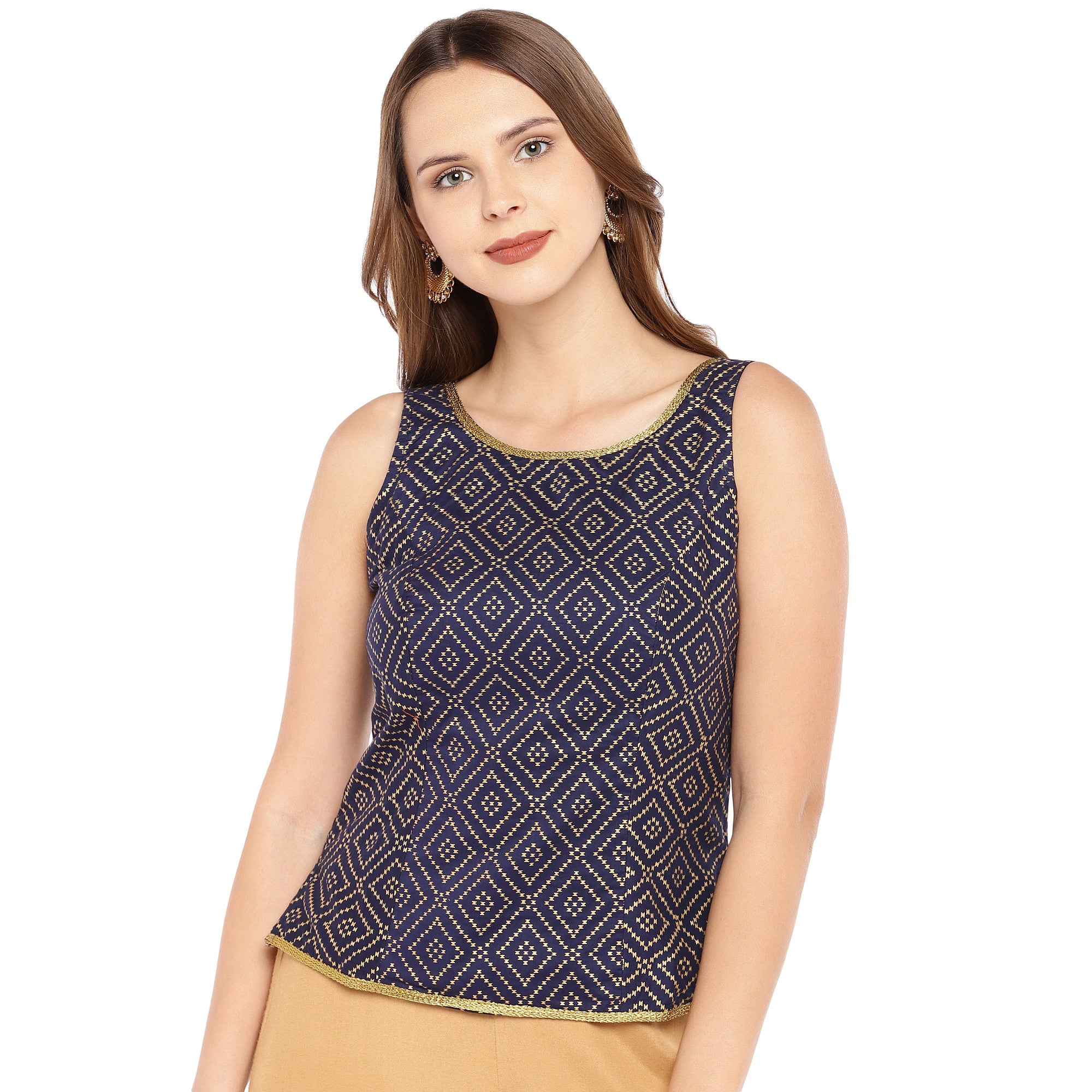 Navy Blue & Black Embroidered Top-1