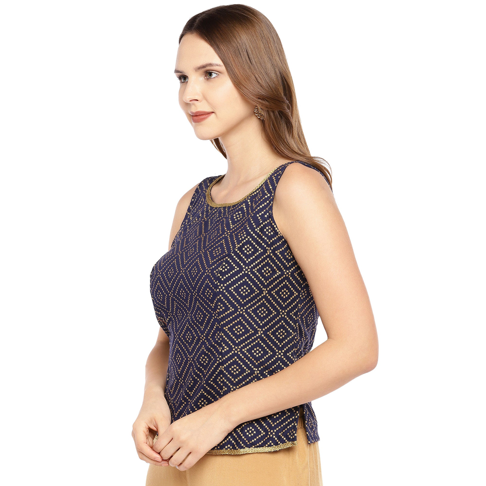 Navy Blue & Black Embroidered Top-2