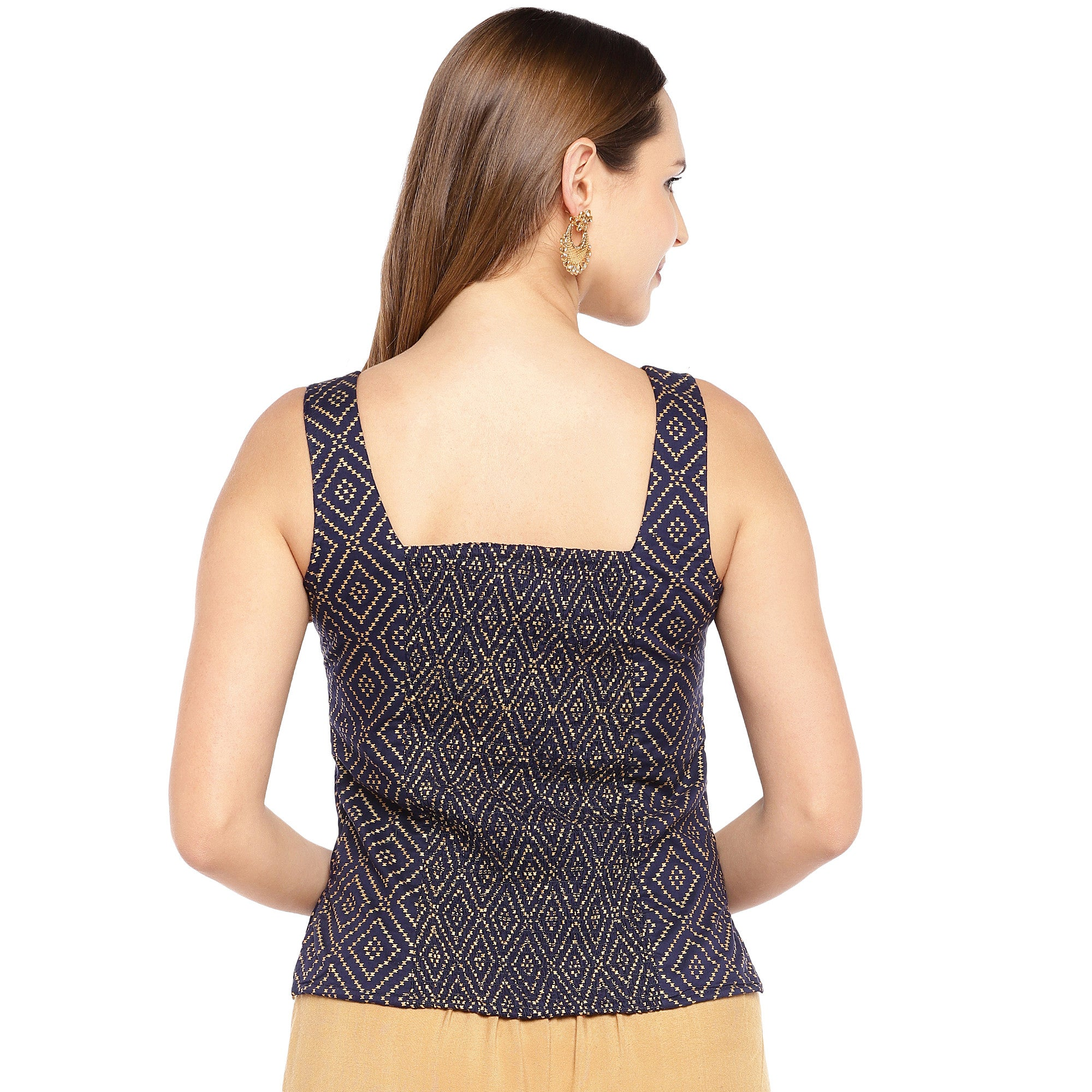 Navy Blue & Black Embroidered Top-3