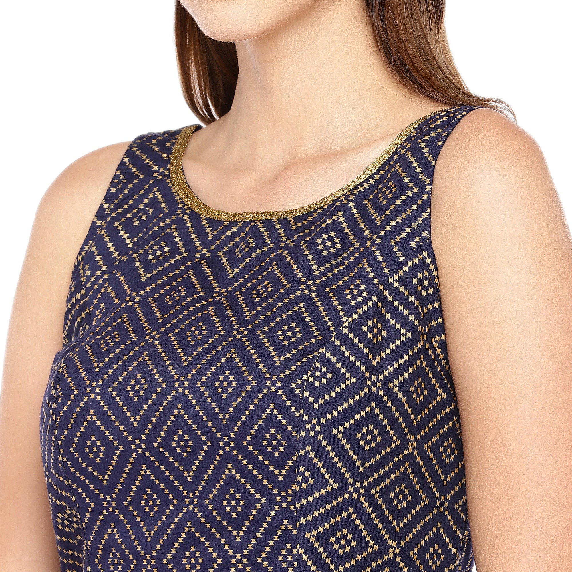 Navy Blue & Black Embroidered Top-5