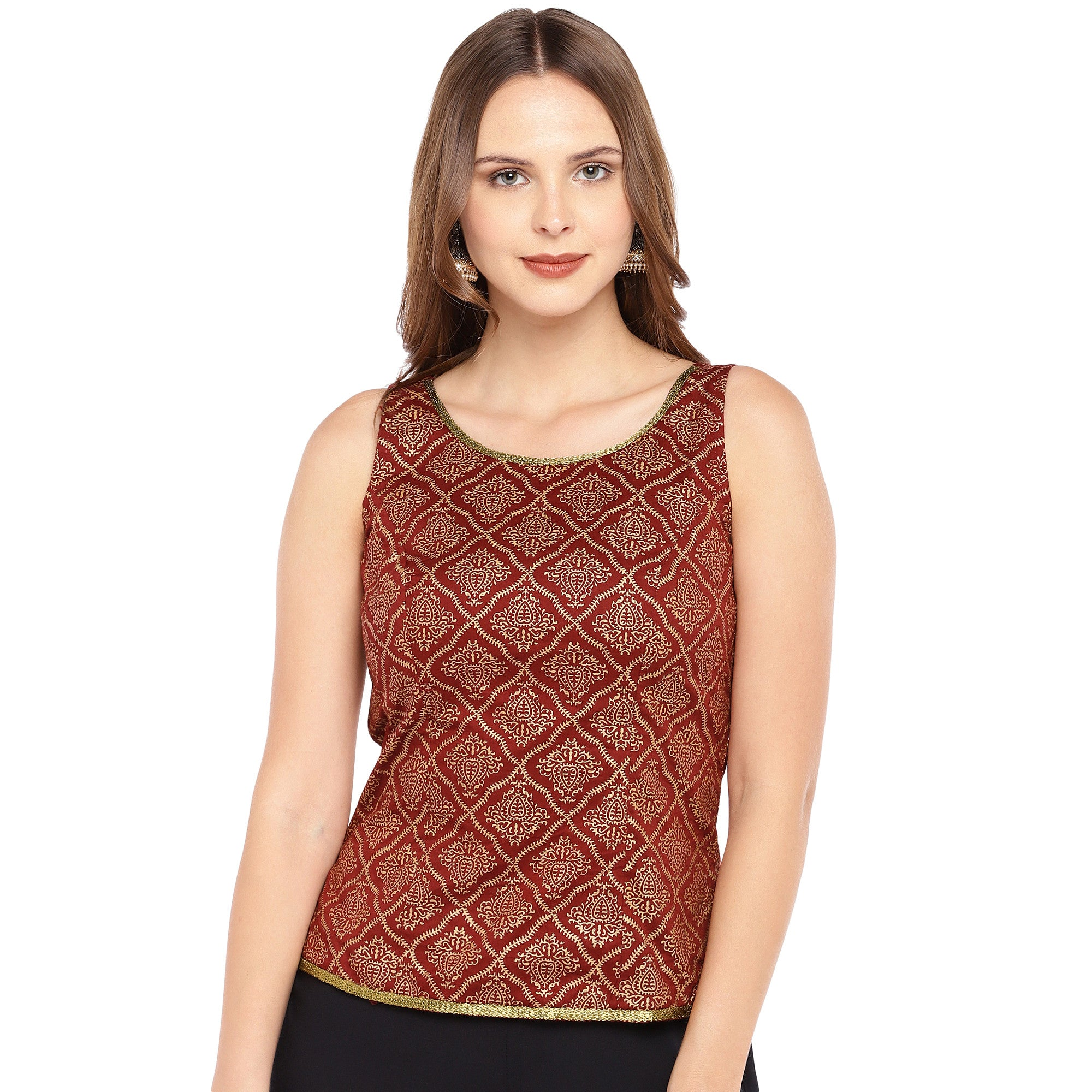 Rust Red Printed Straight Top-1