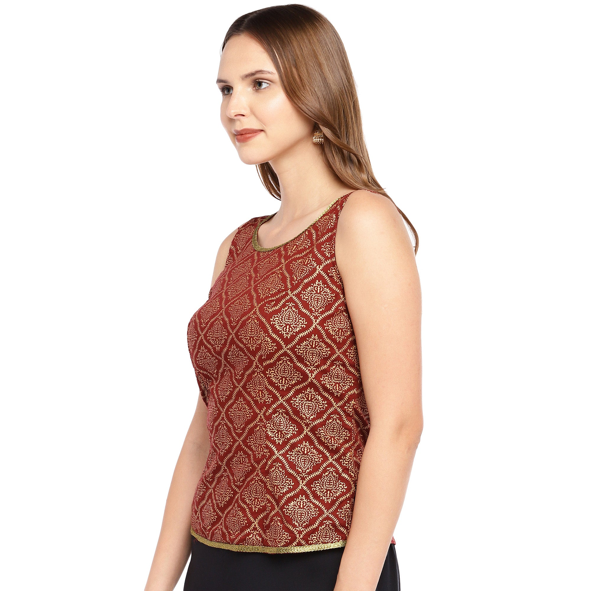 Rust Red Printed Straight Top-2