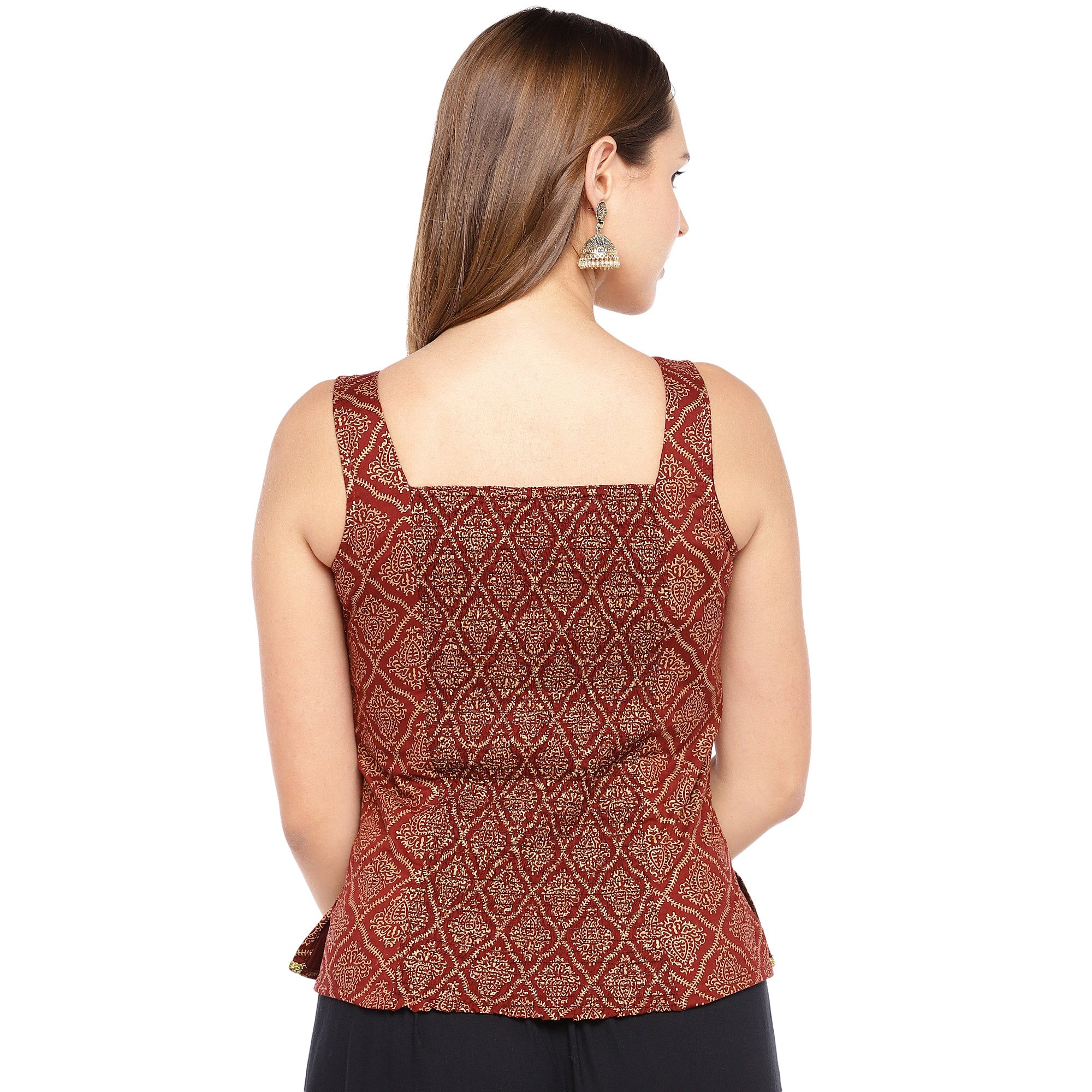 Rust Red Printed Straight Top-3
