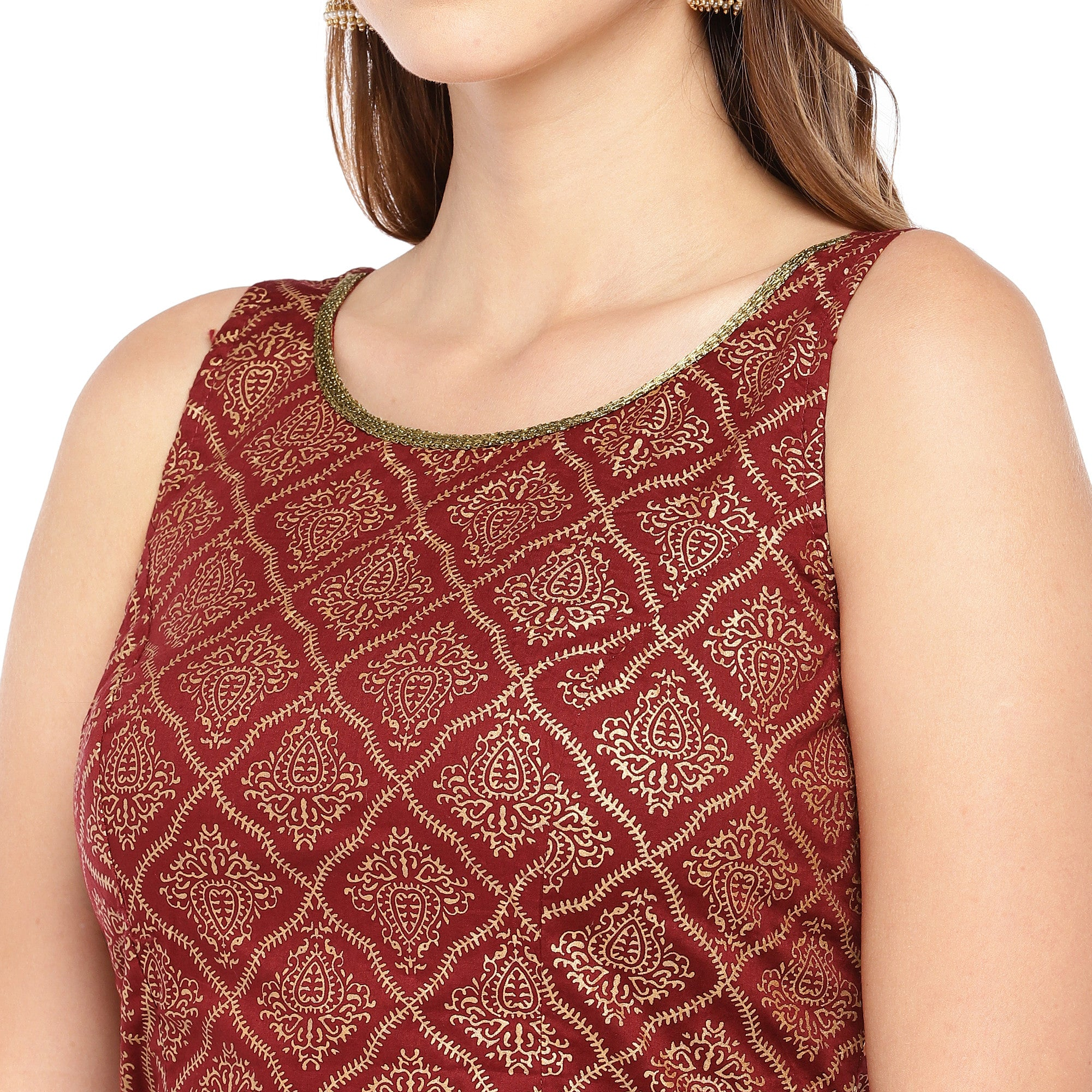 Rust Red Printed Straight Top-5