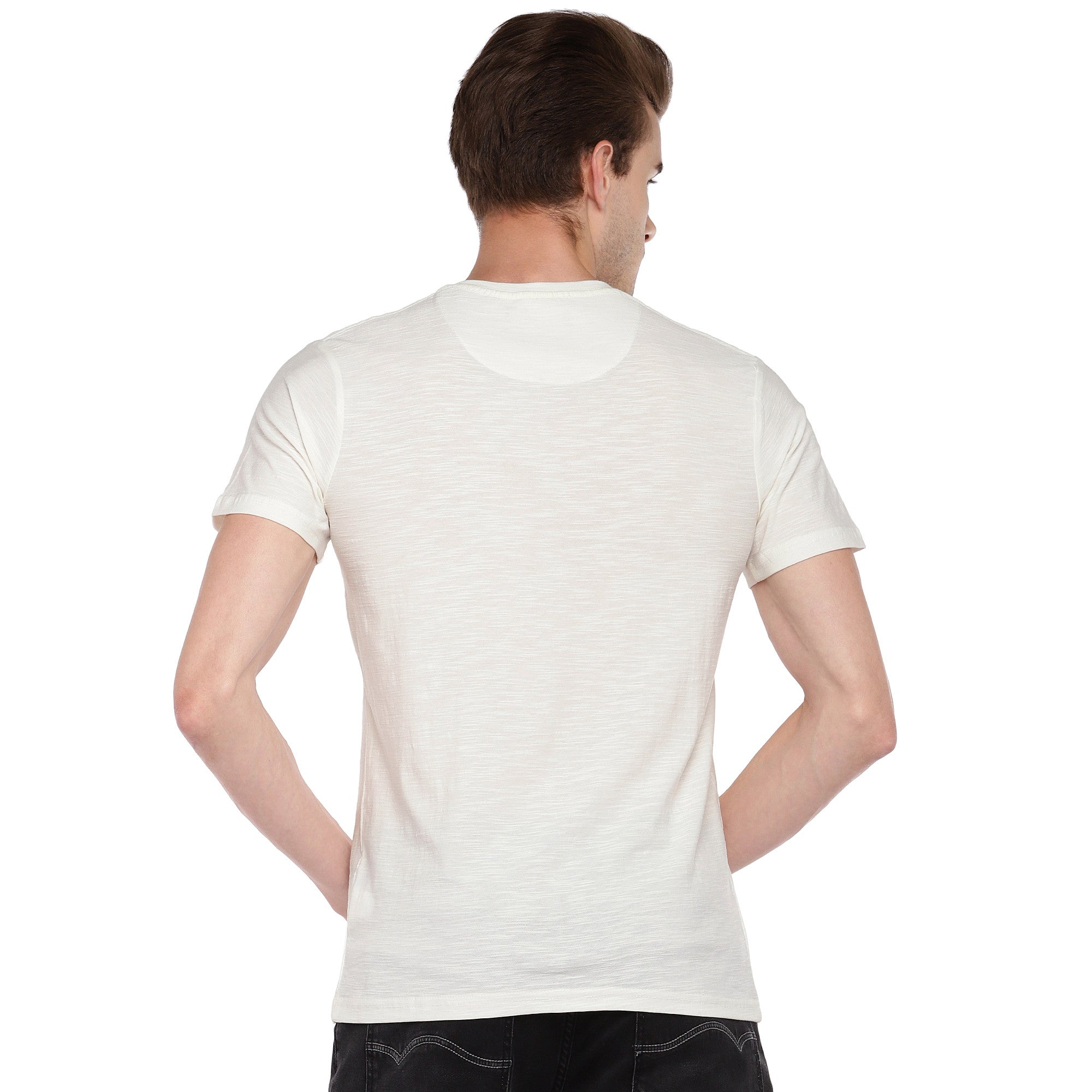 White Solid Henley Neck T-shirt-3