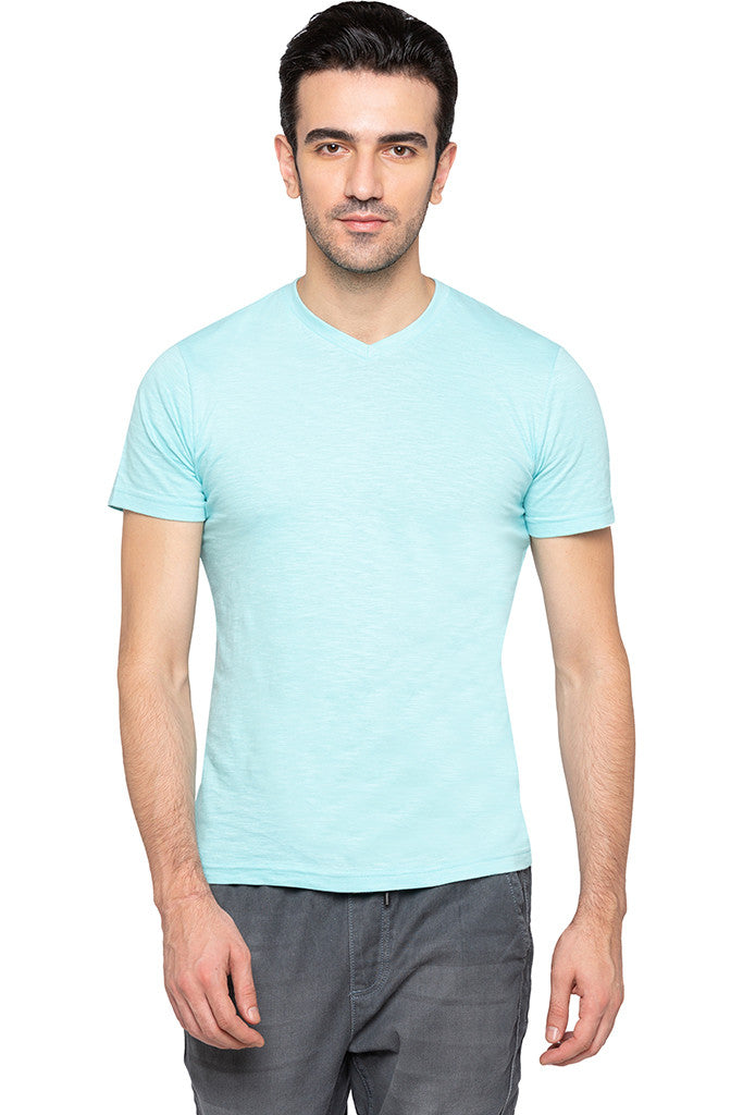 V-neck Solid Slub T-shirt-1