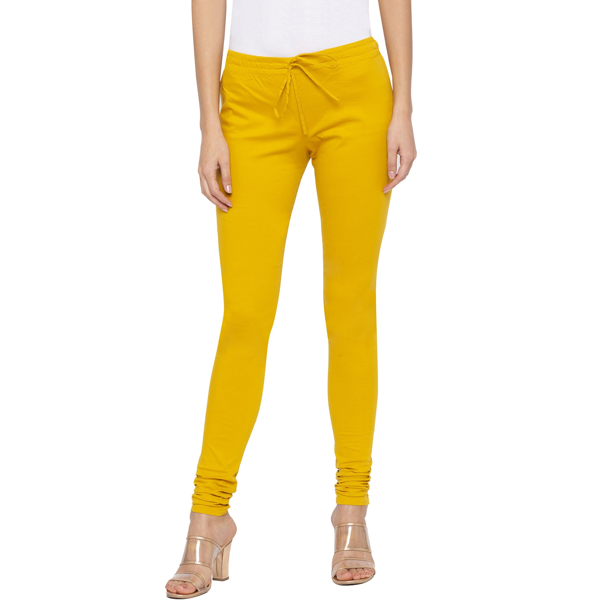 Mustard color Solid Churidar-1