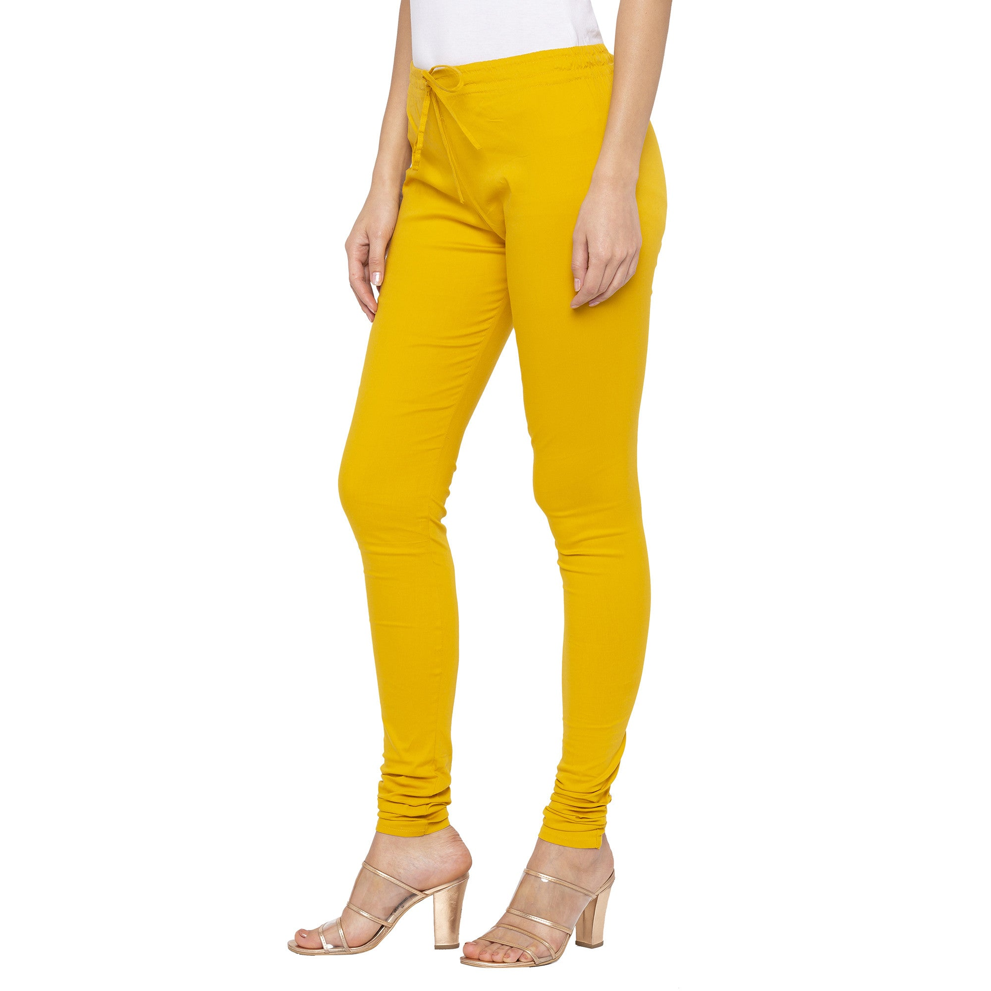 Mustard color Solid Churidar-2