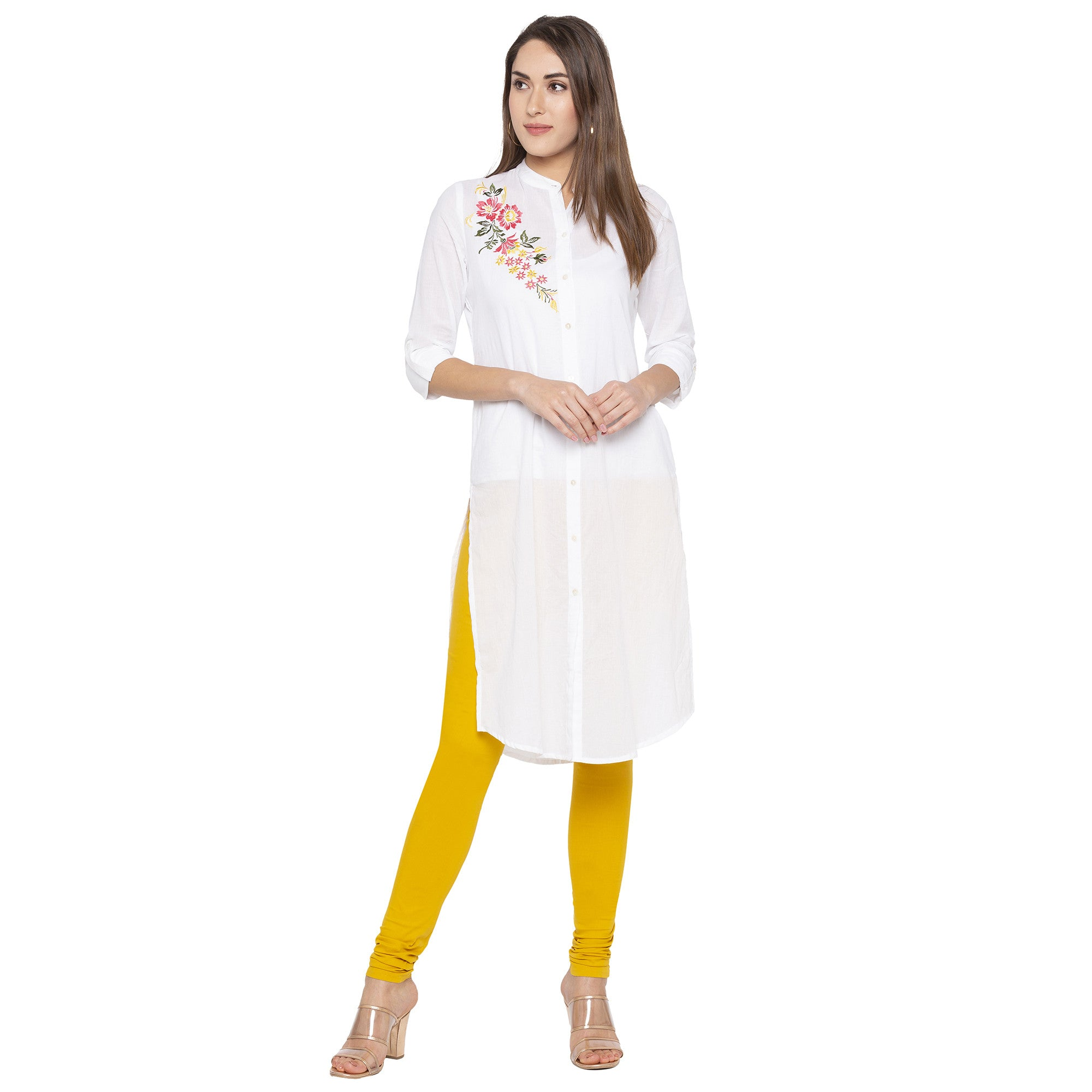 Mustard color Solid Churidar-4