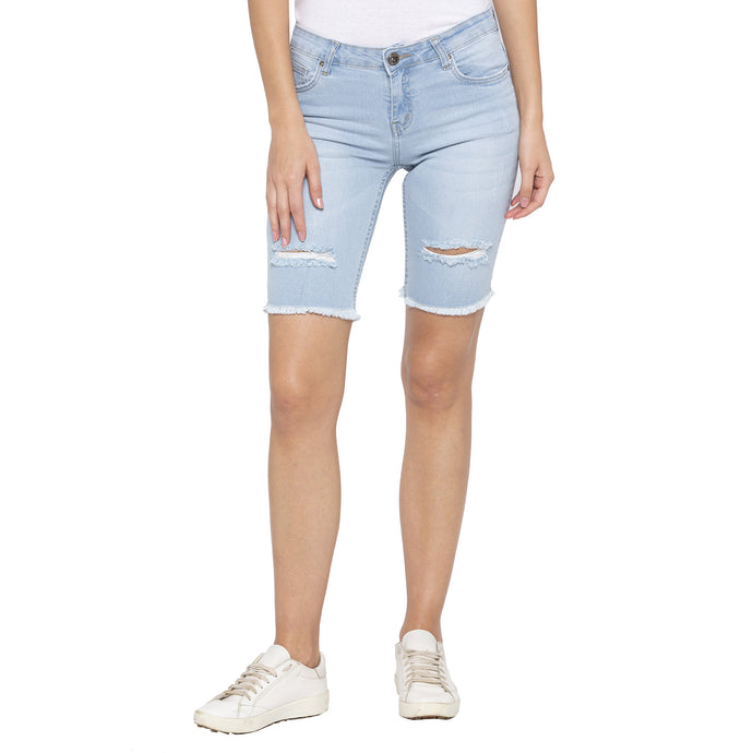 Blue Color Skinny Fit Denim Shorts-1