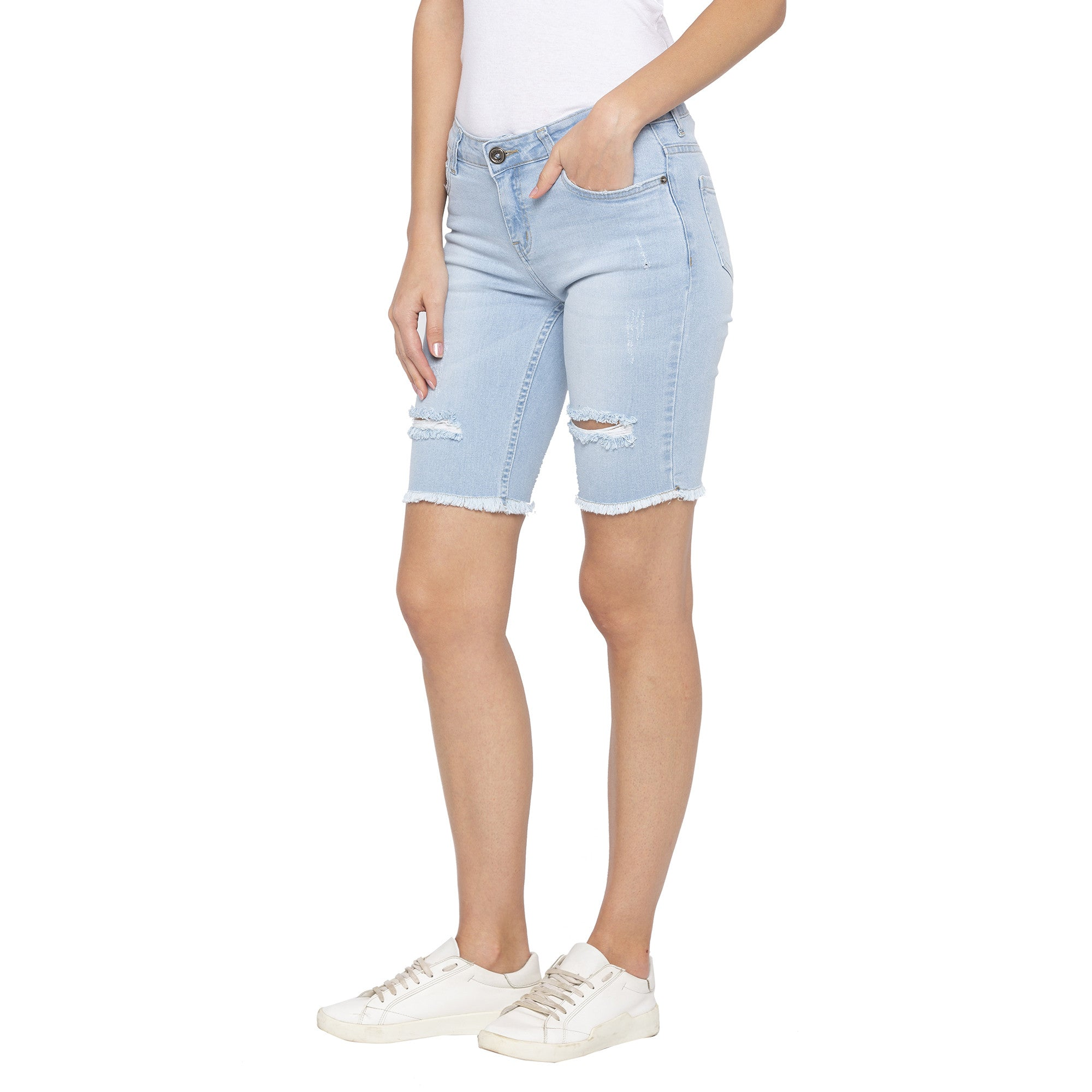 Blue Color Skinny Fit Denim Shorts-2