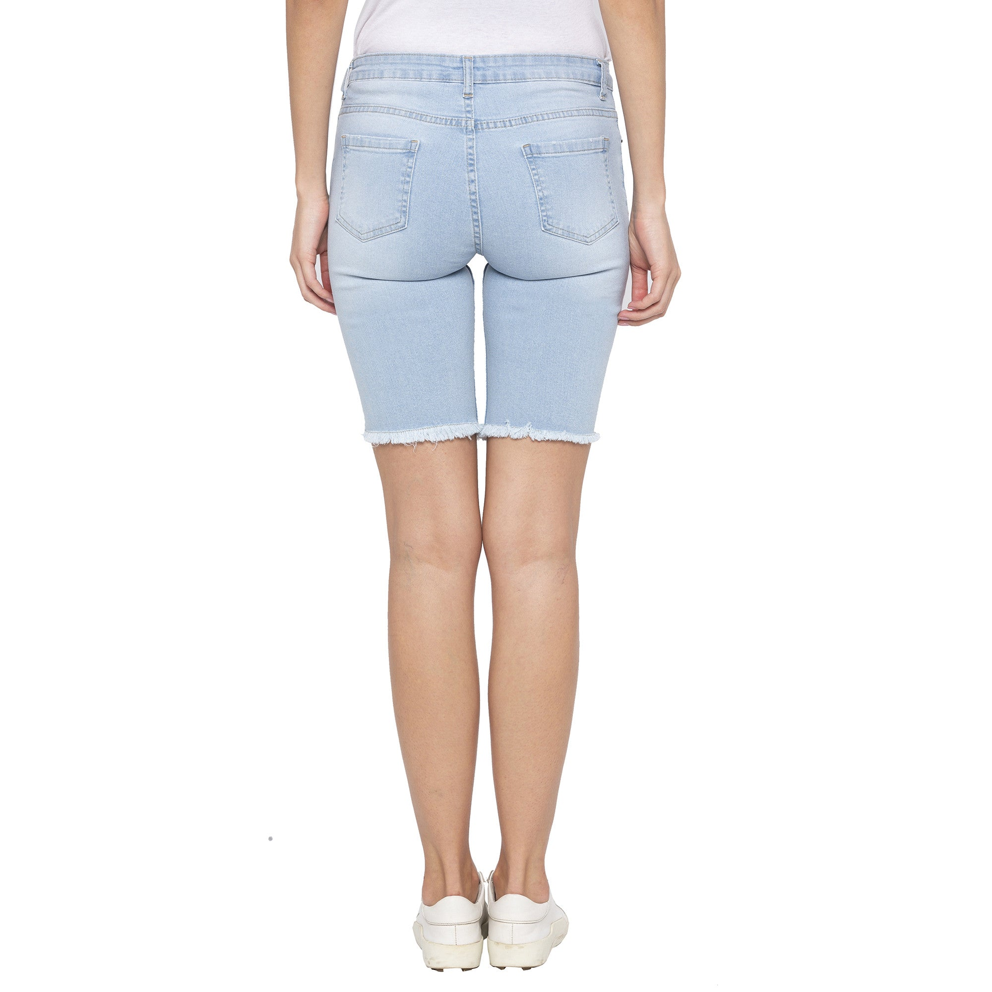 Blue Color Skinny Fit Denim Shorts-3