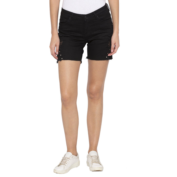 Black Color Skinny Fit Denim Shorts-1