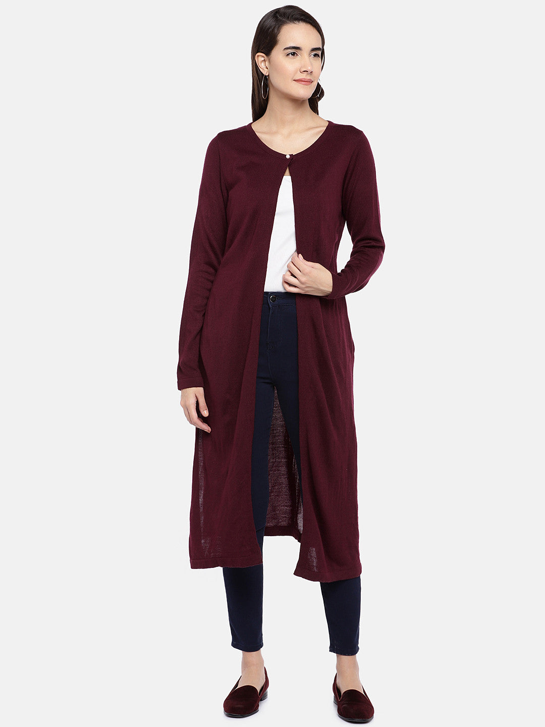 Maroon Solid Button Shrug-1