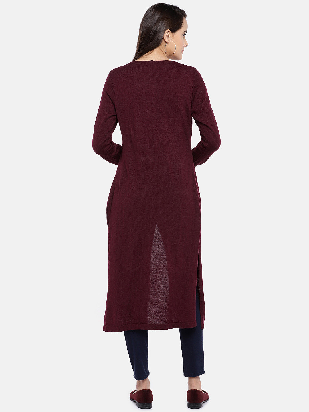 Maroon Solid Button Shrug-3