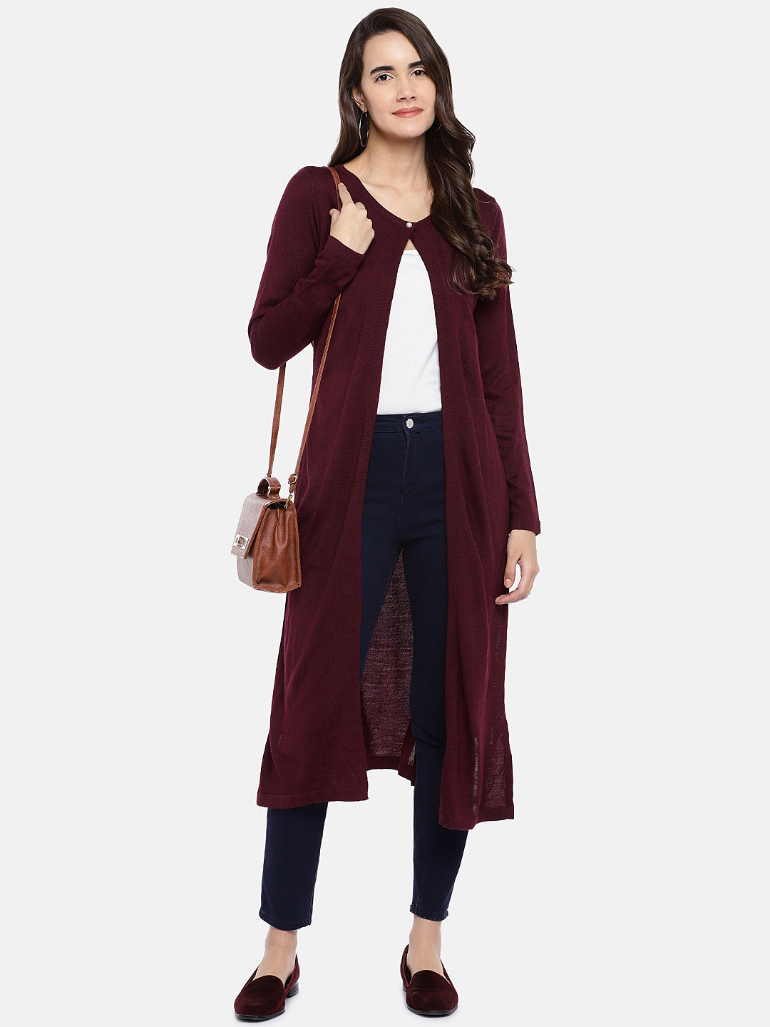 Maroon Solid Button Shrug-4