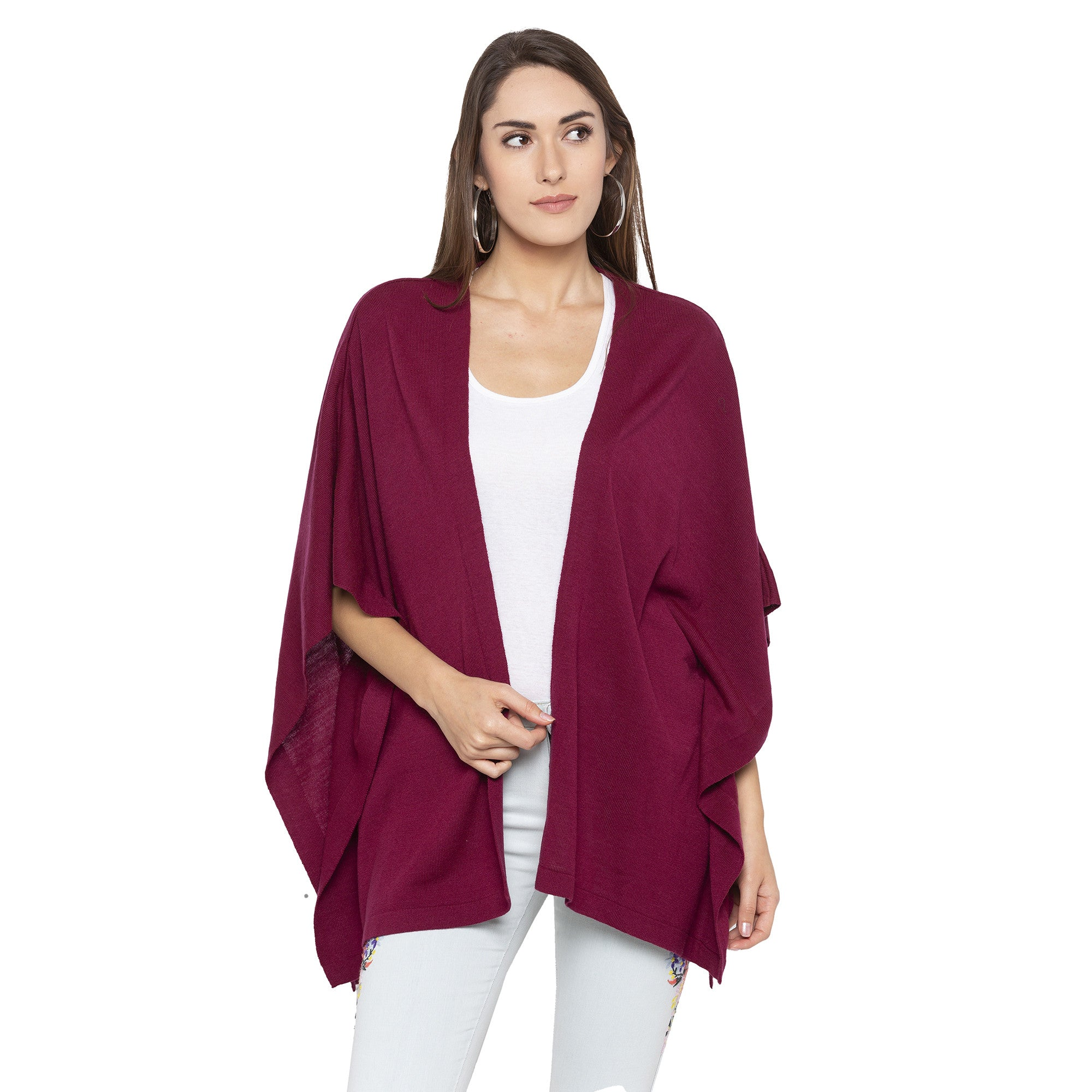 Burgundy Color Solid Loose Fit Long Shrug-1
