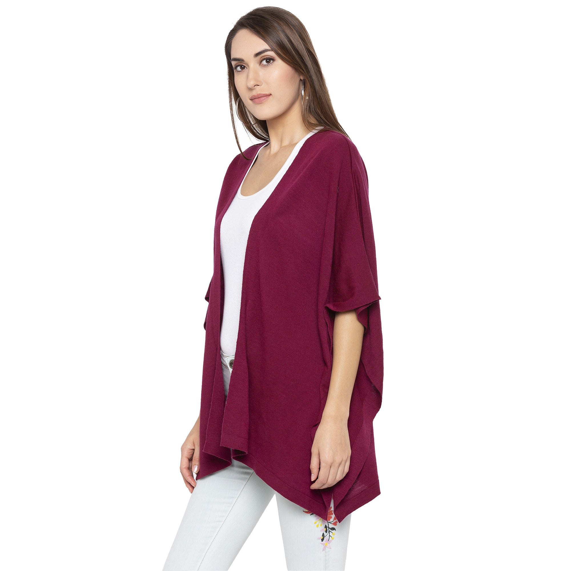 Burgundy Color Solid Loose Fit Long Shrug-2