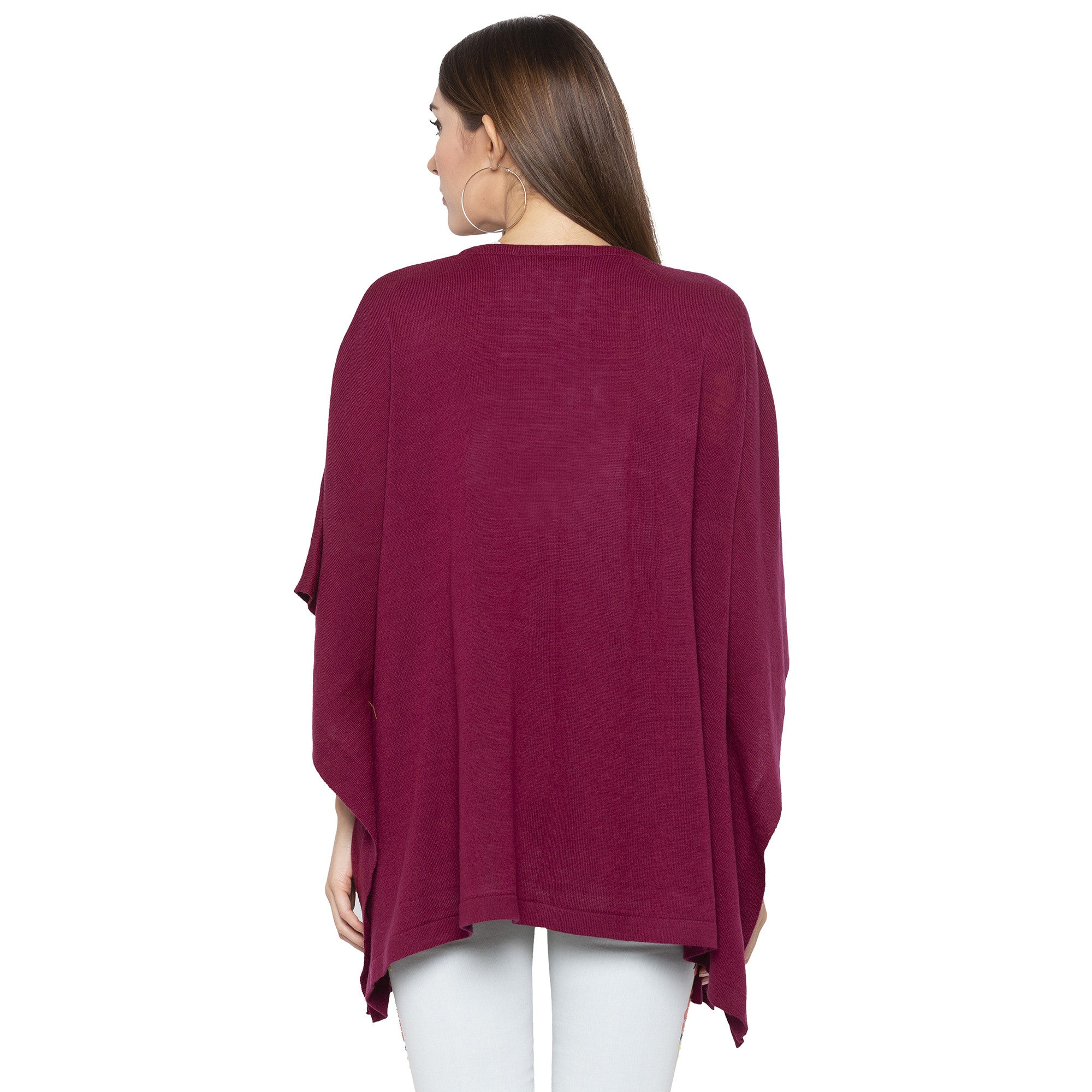 Burgundy Color Solid Loose Fit Long Shrug-3