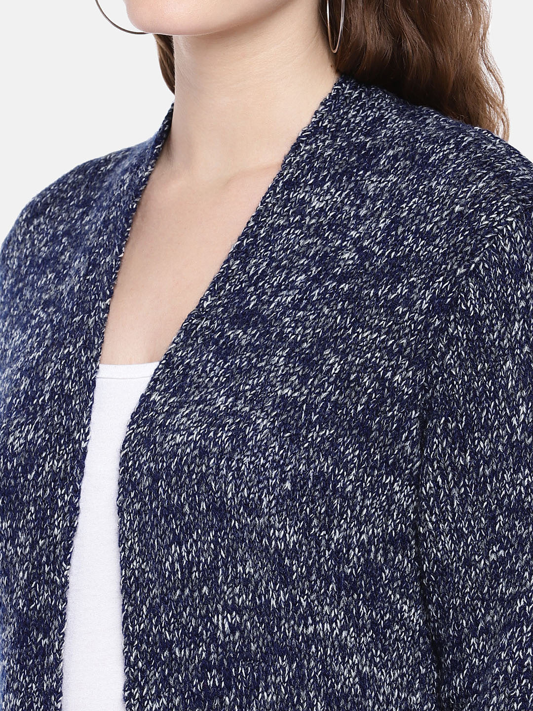 Navy Blue Self Design Open Front Shrug-5