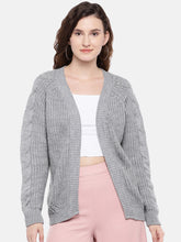 Load image into Gallery viewer, Grey Self Design Open Front Shrug-1