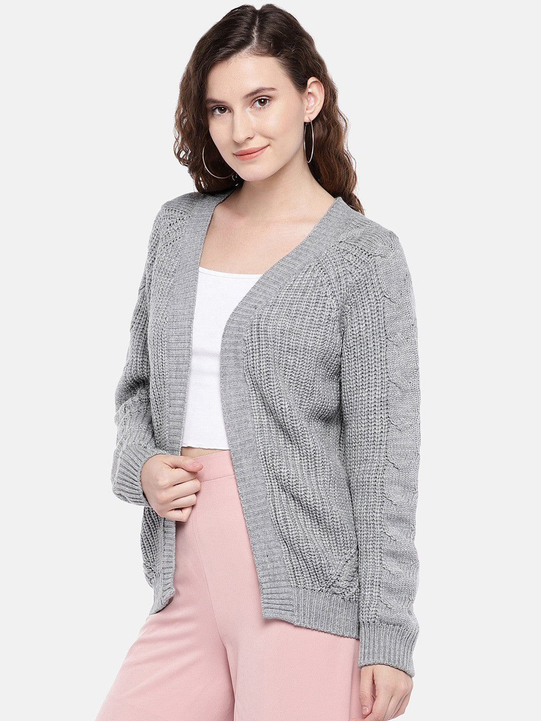 Grey Self Design Open Front Shrug-2