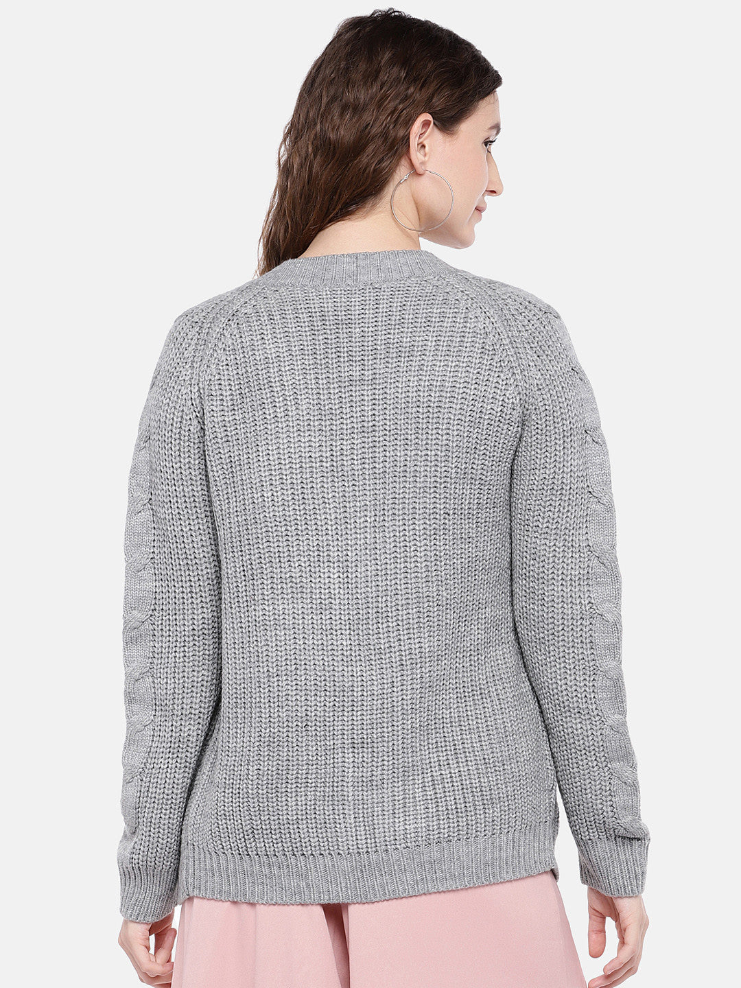 Grey Self Design Open Front Shrug-3