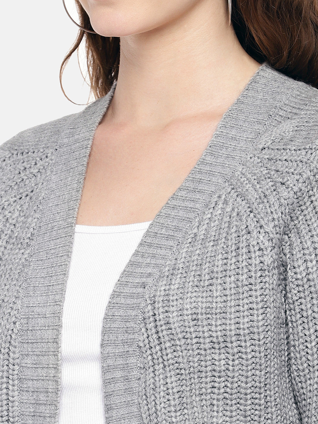 Grey Self Design Open Front Shrug-5