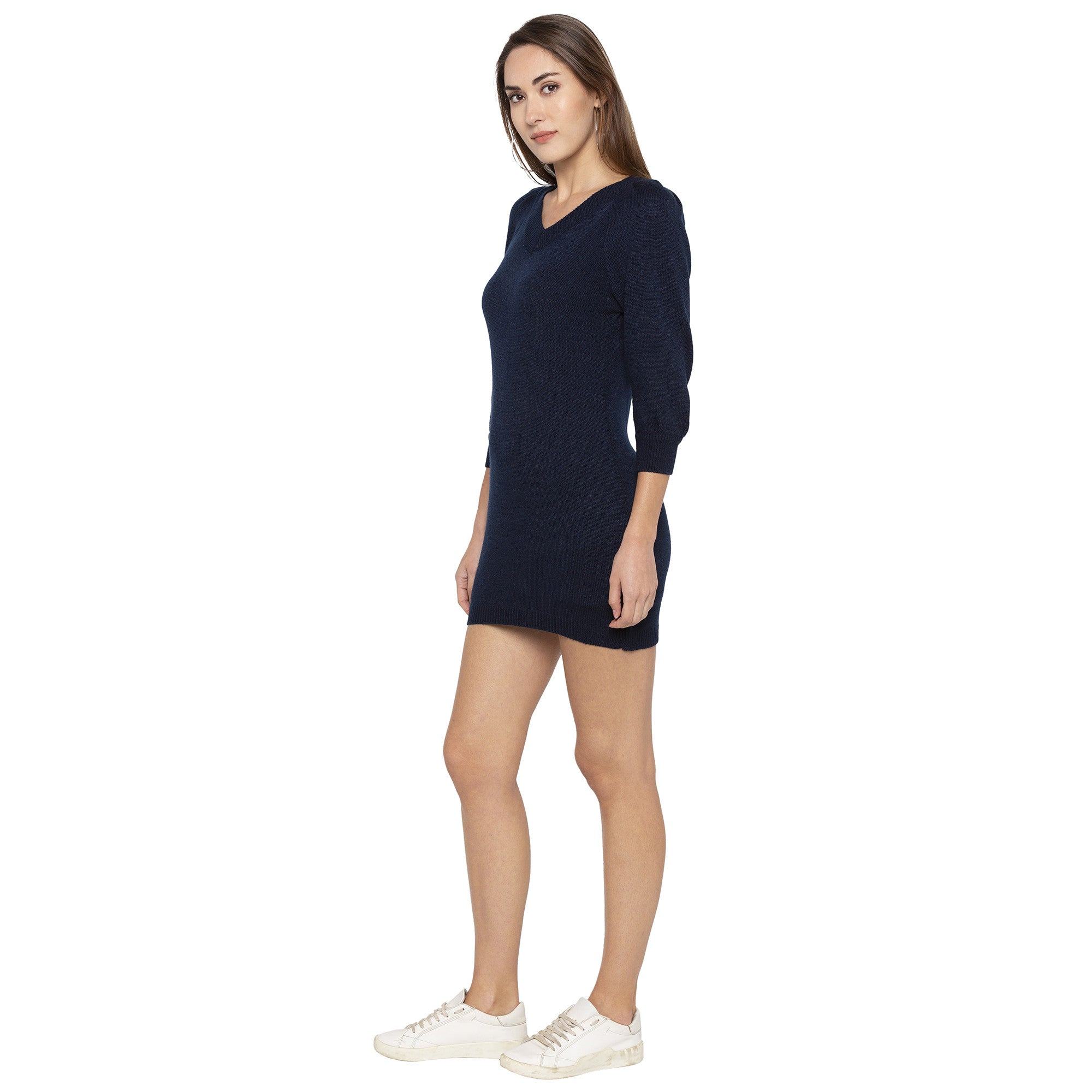 Casual Navy Blue Color Solid Bodycon Dress-2