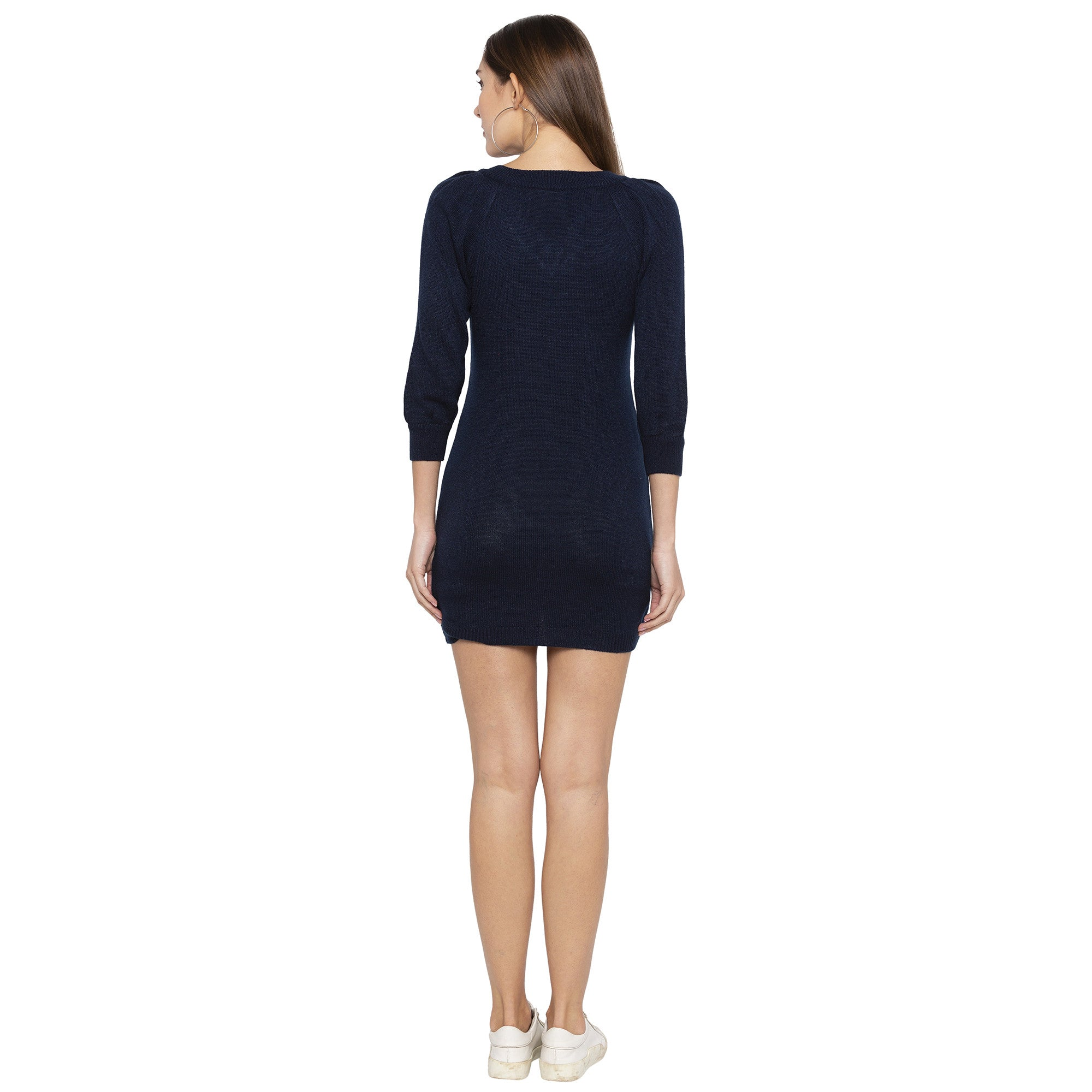 Casual Navy Blue Color Solid Bodycon Dress-3