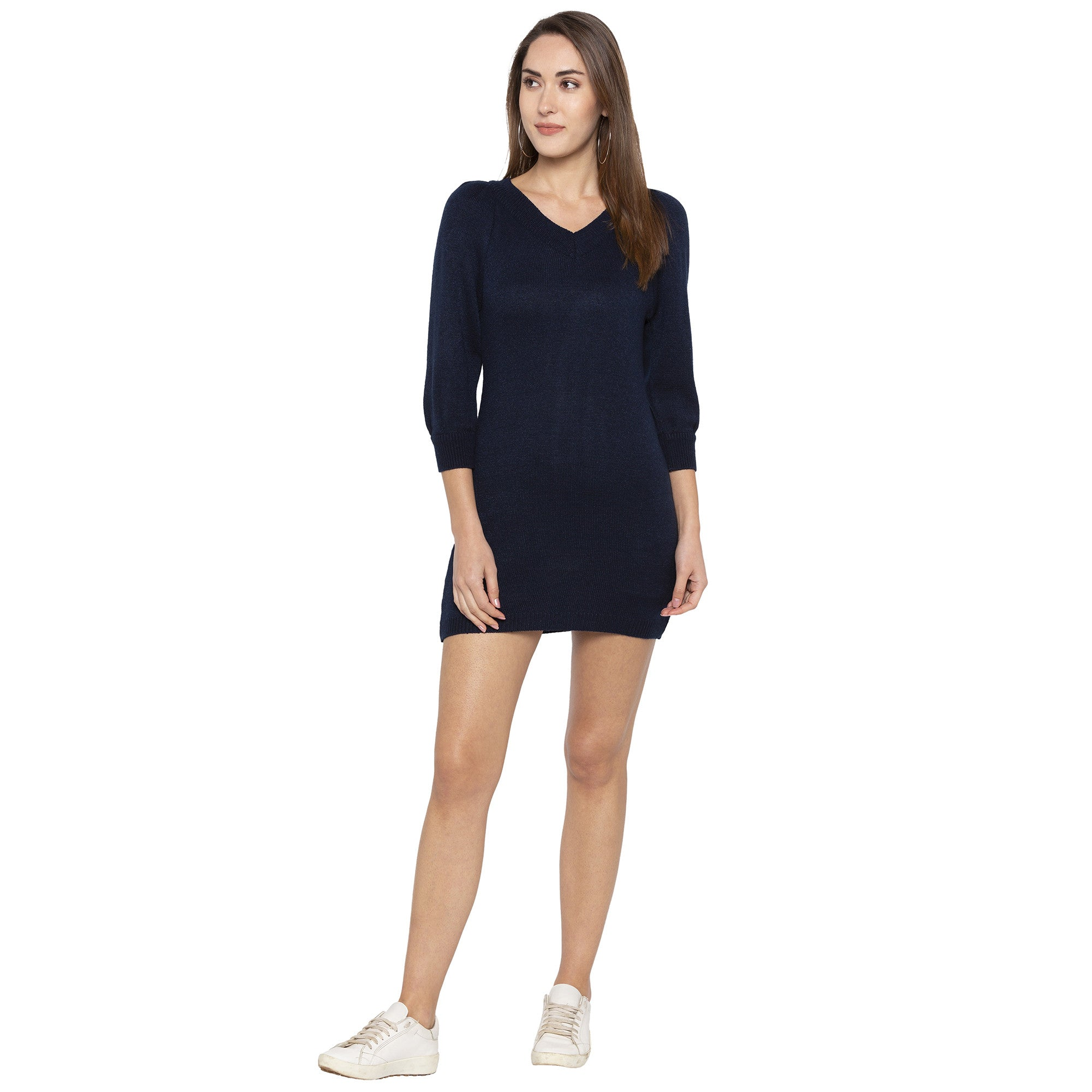 Casual Navy Blue Color Solid Bodycon Dress-4