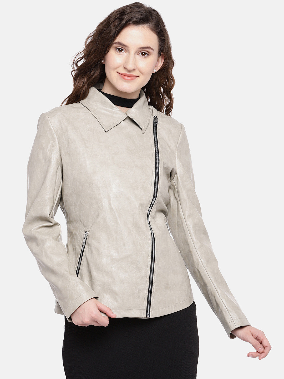Grey Solid Biker Jacket-1