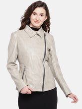 Load image into Gallery viewer, Grey Solid Biker Jacket-1