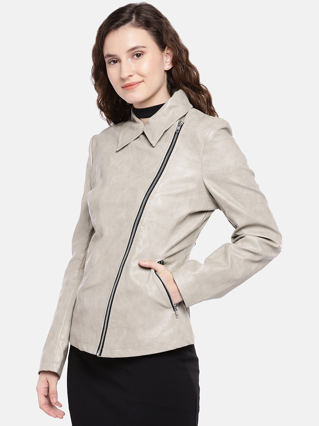 Grey Solid Biker Jacket-2