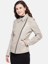 Load image into Gallery viewer, Grey Solid Biker Jacket-2