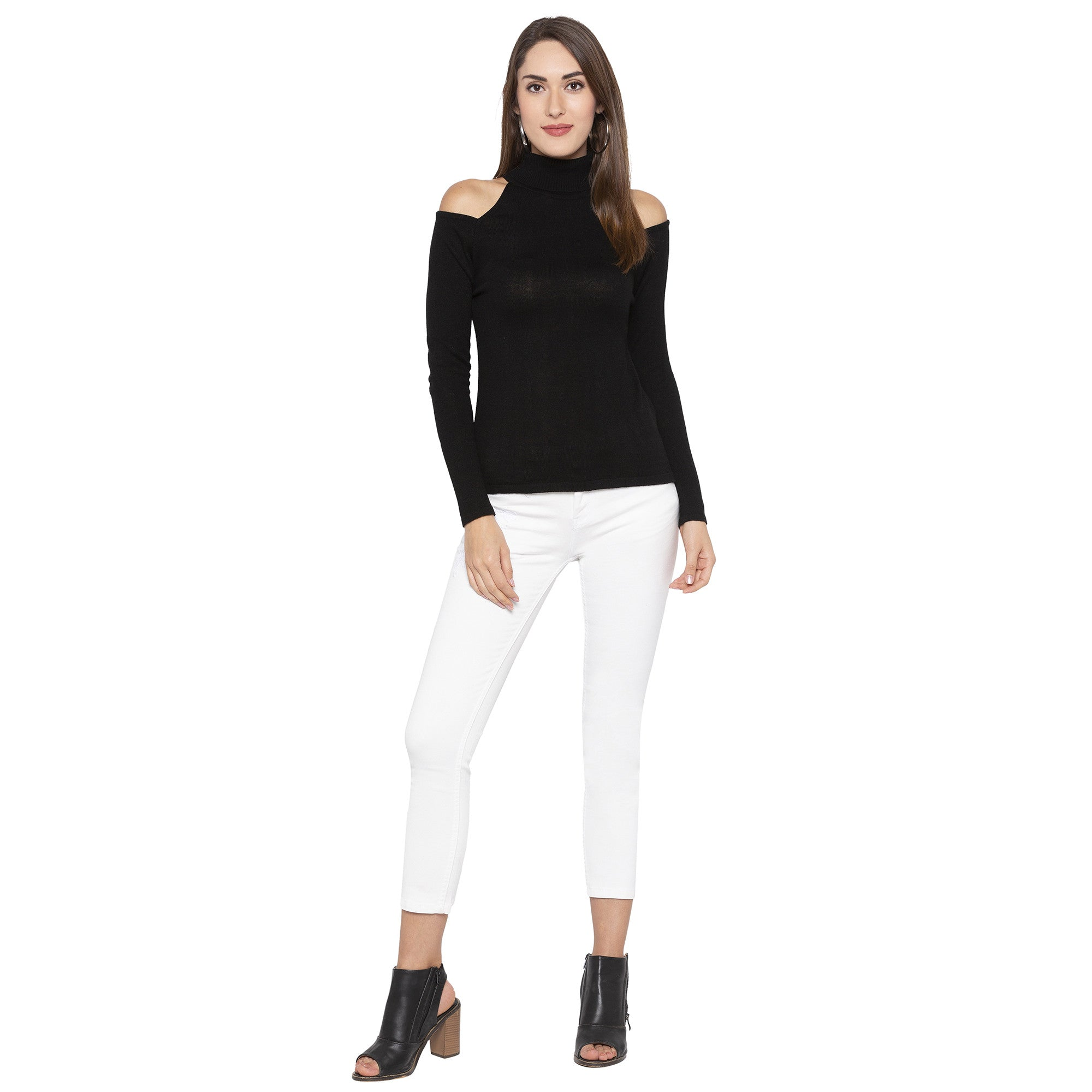 Casual Black Color Solid Skinny Fit Tops-4