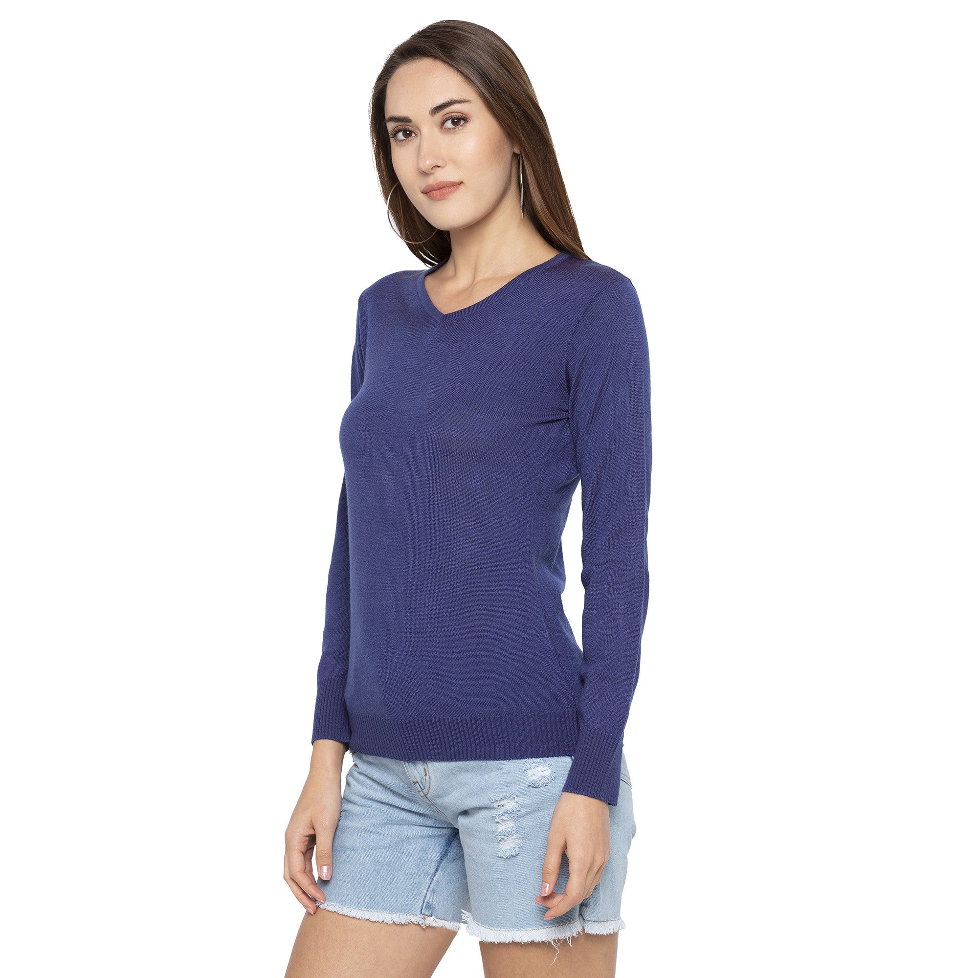 Casual Blue Color Solid Skinny Fit Tops-2