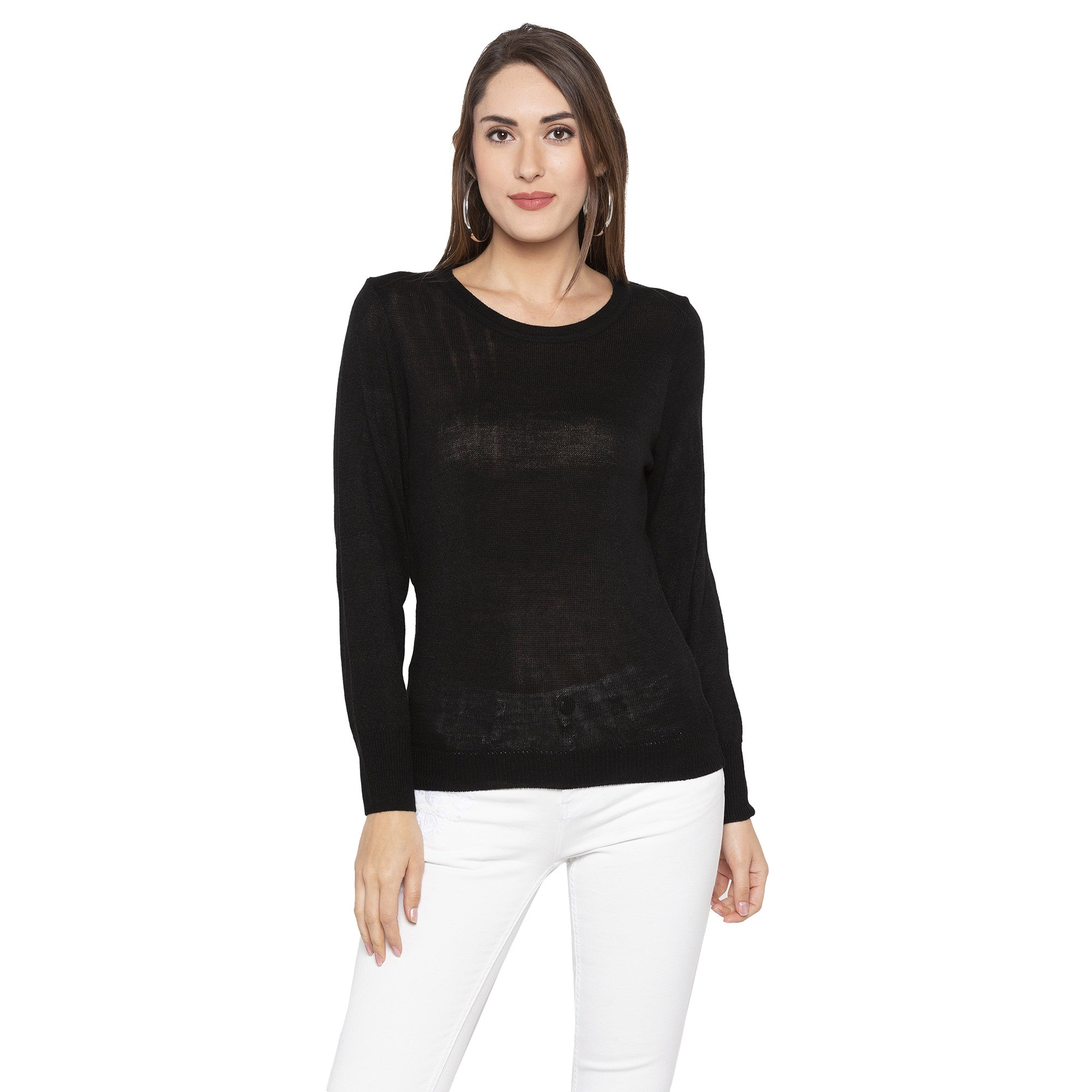 Casual Black Color Solid Skinny Fit Tops-1
