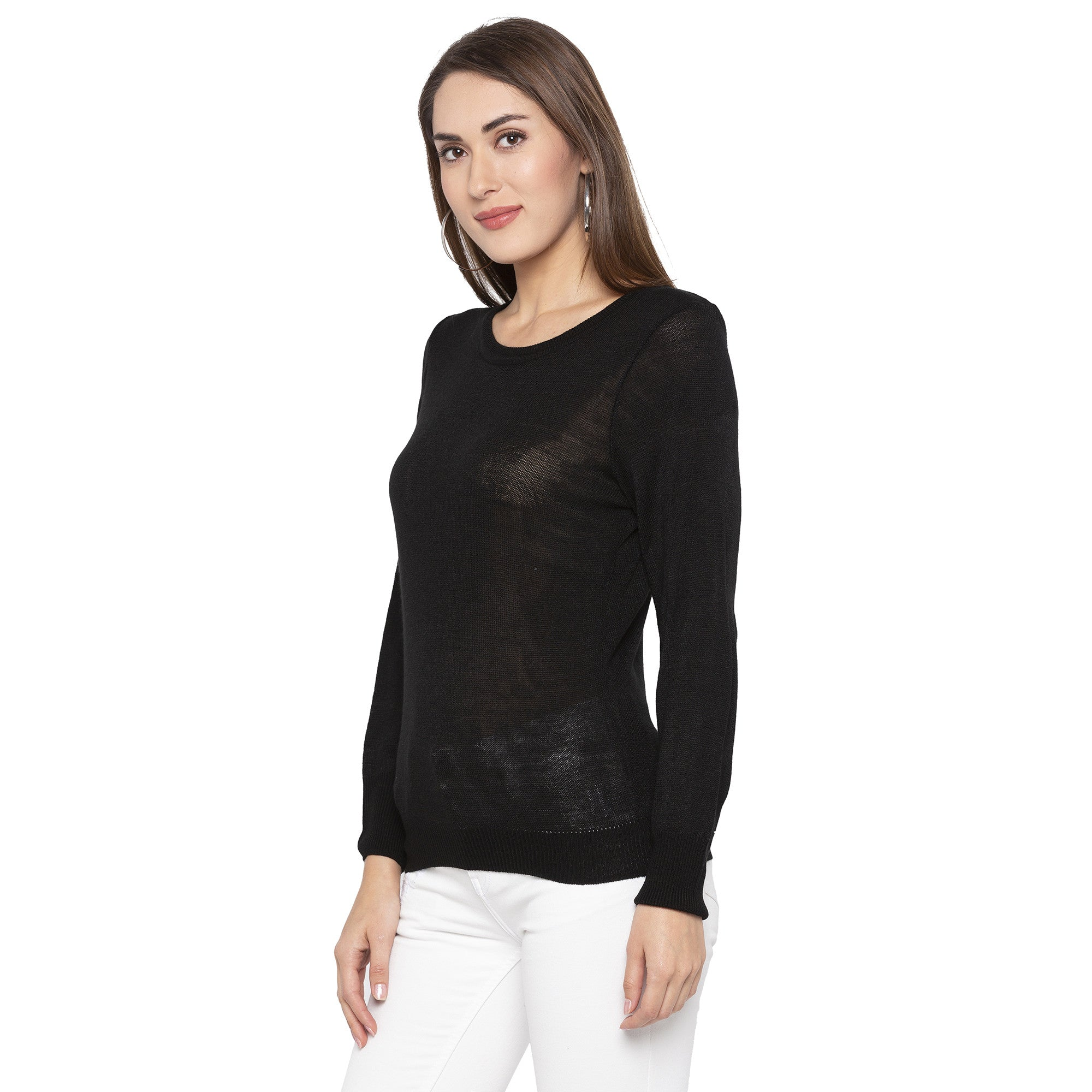 Casual Black Color Solid Skinny Fit Tops-2