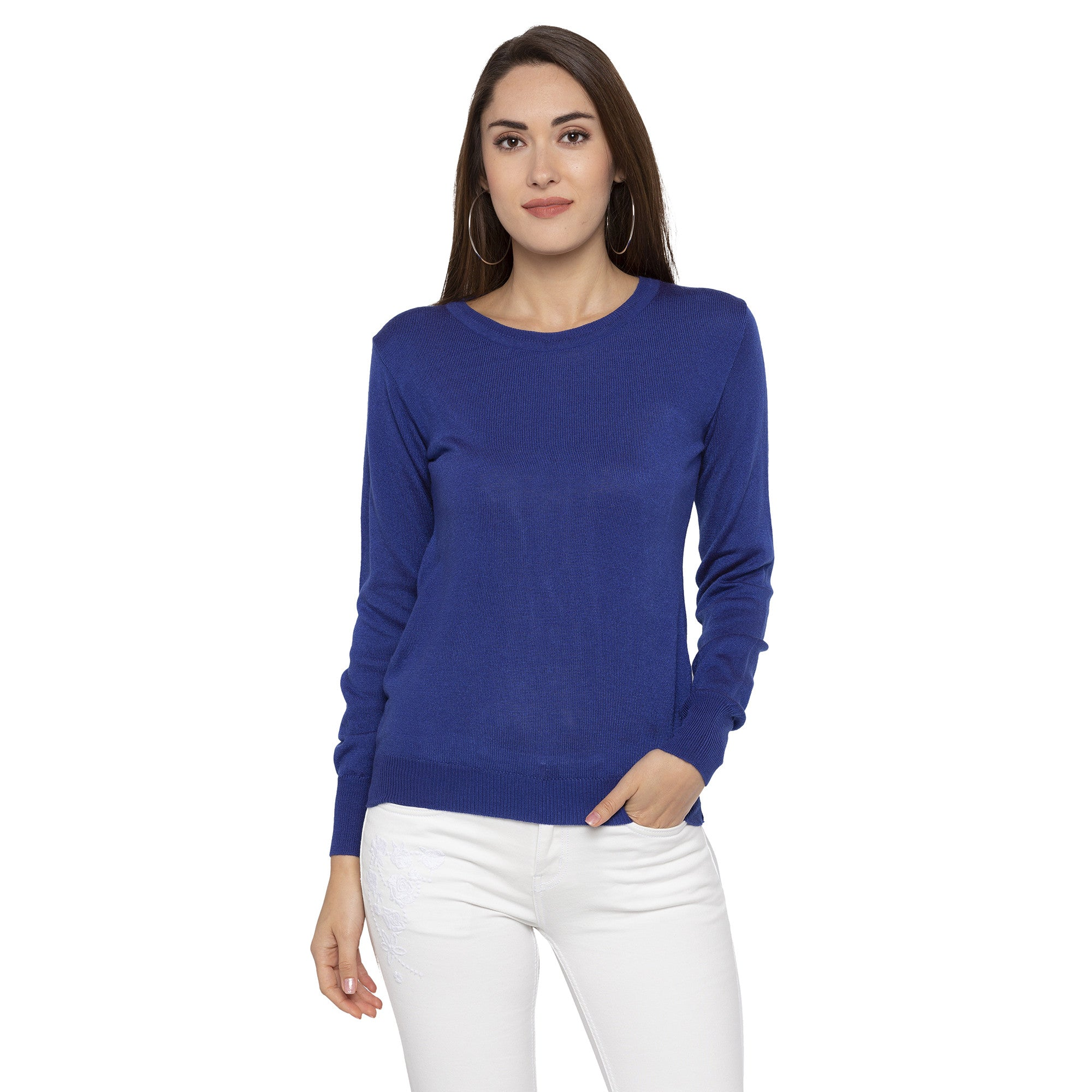 Casual Blue Color Solid Skinny Fit Tops-1