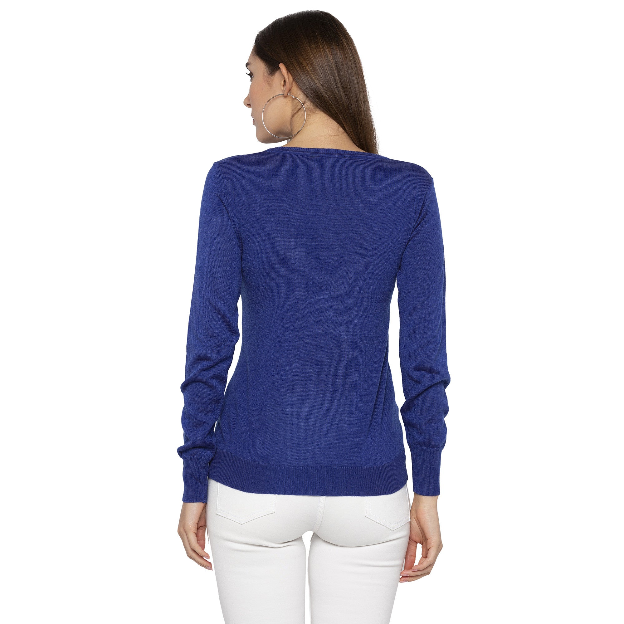 Casual Blue Color Solid Skinny Fit Tops-3