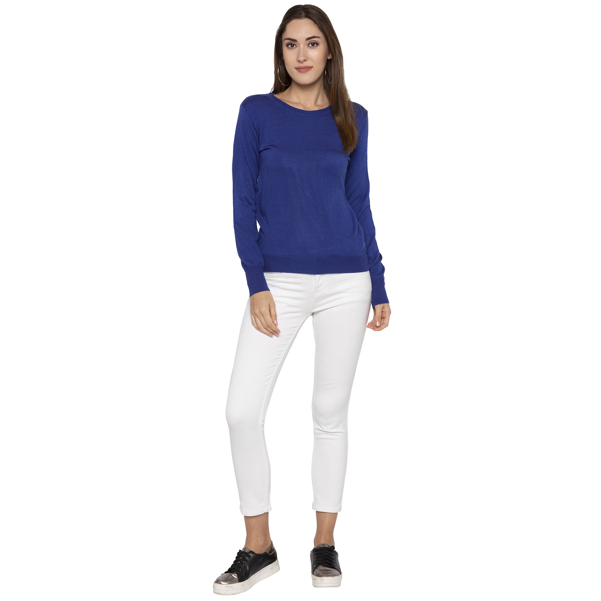 Casual Blue Color Solid Skinny Fit Tops-4