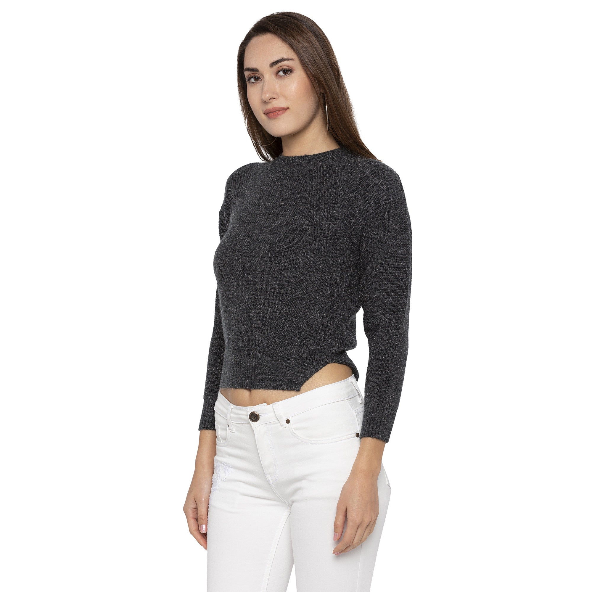 Casual Black Color Solid Slim Fit Tops-2