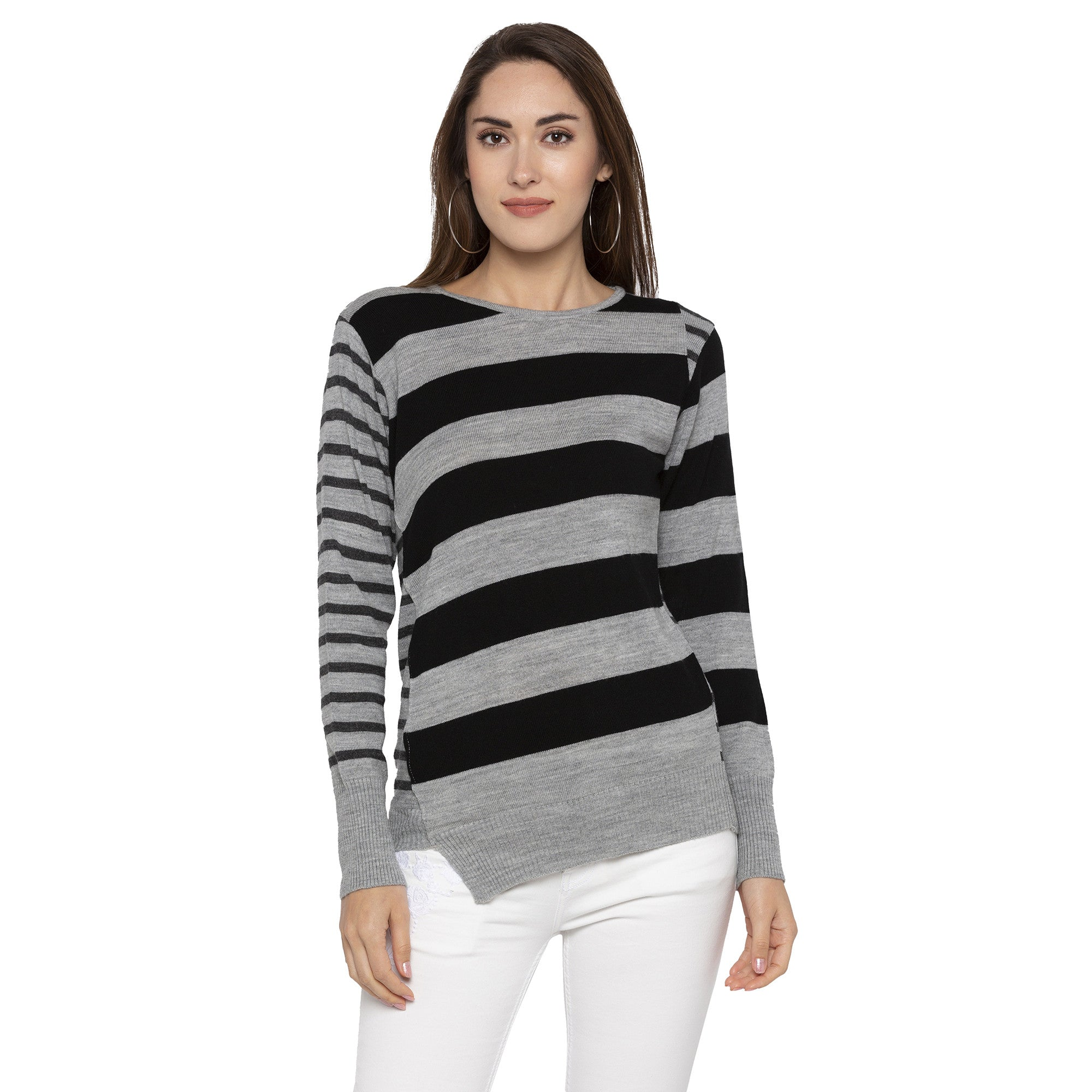Casual Grey Color Striped Slim Fit Tops-1