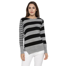 Load image into Gallery viewer, Casual Grey Color Striped Slim Fit Tops-1